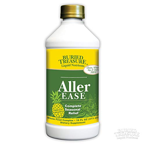 - Buried Treasure Aller-Ease Herbal Allergy Relief High Potency Liquid Formula with Vitamins, Minerals and Herbal Blend of Bayberry Eyebright Mullen MSM Zinc 16 oz