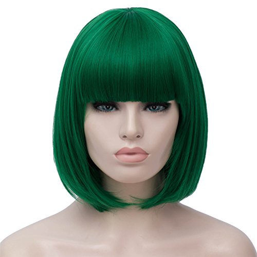 Short Green Bob Hair Wigs with Bangs Womens Straight Synthetic Cosplay Wig 12 Inch Natural Looking As Real Hair -