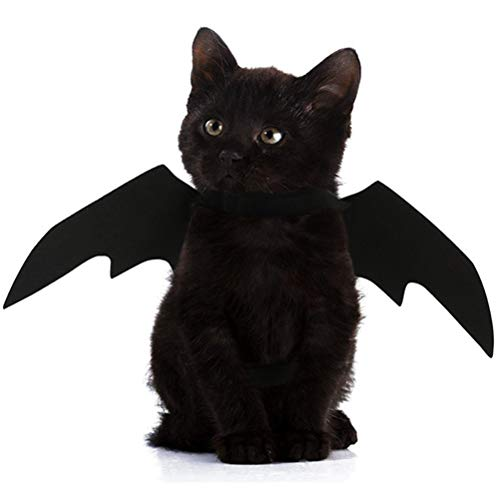 POPETPOP Fashion Pet Cat Bat Wings, Halloween Cat Bat Costume, Bat Wings Pet Felt Costume for Puppy Kitty Festival Party Cosplay, 45 x 16 x 1cm (Black) -