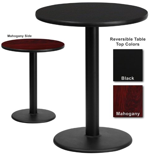 Flash Furniture 24 Inch Round Dining Table W Black Or Mahogany Reversible Laminate Top