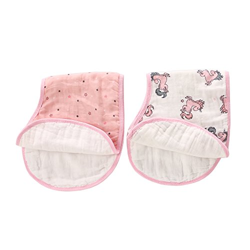 Baby Bibs,Baby Burp Cloth,Baby Feeding Drooling Teething Bibs with Snap 2 Pack(Pink Unicorn) from LAT LEE AND TOWN