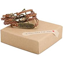 Believe in Yourself Leather Braided Bracelet for Girls – Positivity Charm Bracelet for Building Confidence and Positive Thinking – Girl Power Teen Jewelry – Wrap Bracelet by Whisperband