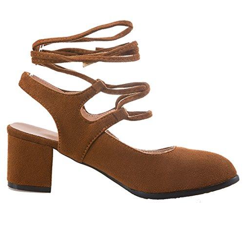 AIYOUMEI Damen Geschlossen Blockabastz Chunky Heel Slingback Sandalen mit Schnürung und 6cm Absatz Bequem Sommer Süß Schuhe Braun