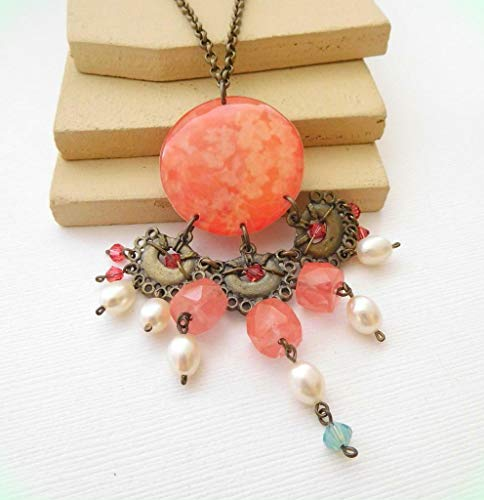 New Age Distressed Boho Tribal Peach Pink White Bead Pendant Necklace for Women JJ48