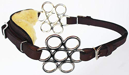 - PRORIDER Horse Fleece Lined Adjustable Leather Bitless Bridle Curb Strap Hackamore 35H32