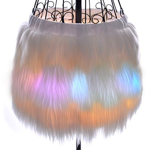 Light Up White Fur Tutu, Mini Skirt for Women Short Adult Faux Fluffy Girls Led Clothes Glow Burning Men Costume Rainbow Unicorn Christmas Rave Outfit (Led Skirt-S)]()