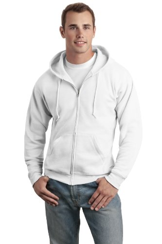 Hanes Men's ComfortBlend EcoSmart Full-Zip Hood, White, Large