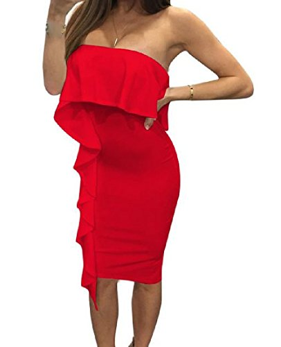 Bodycon Dresses Red Off Skinny shoulder Coolred Solid Womens Evening xq08XfX