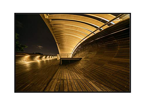 Singapore - Henderson Waves Bridge at Night - Photography A-94767 (36x24 Framed Gallery Wrapped Stretched Canvas)