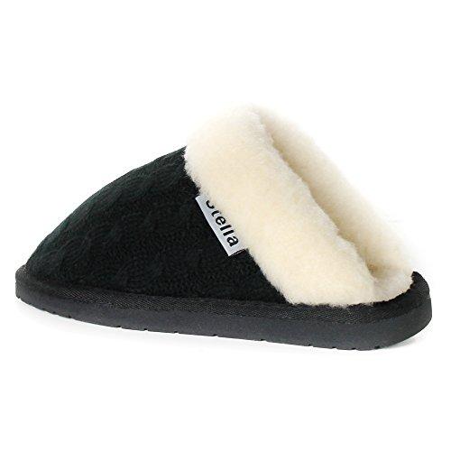 Stellar Womens Lavorato A Maglia In Pelliccia Trim Inverno Caldo Interno Comodo Slip On Mule Zoccoli Pantofole Nero