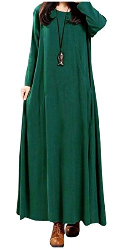 Comfy Blackish Dress Long Swing sleeve Solid Loose Retro Women Pullover Green Big vwqAUvr