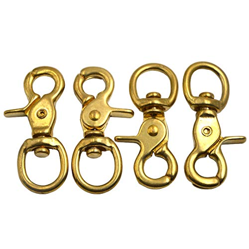 Brass 3' Ring - Okones Pack of 4,4/5''Eye Diameter,2-2-3'' Overall Length,Solid Brass Lobster Clasps Oval Swivel Trigger Clips Hooks for Straps Bags Belting leathercraft(2-2/3'')
