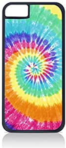 Faded Tie-Dye- Case for the Apple Iphone 5-5s Universal-Hard Black Plastic Outer Shell with Inner Soft Black Rubber Lining-(NOT 5C)