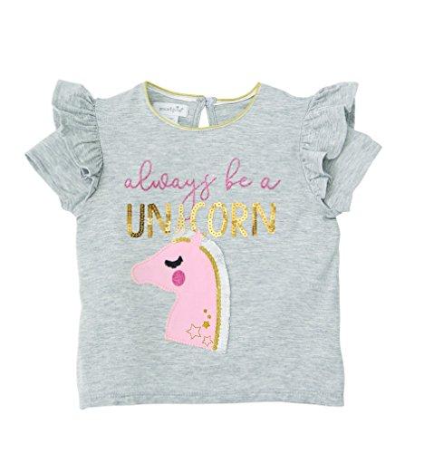 (Mud Pie Baby Girls Unicorn Sequin Flutter Sleeve T-Shirt, Gray, SM/ 12-24 MOS)