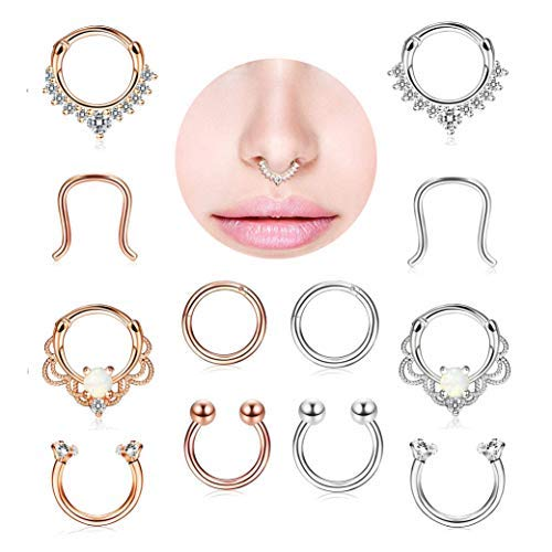 Finrezio 12Pcs 316L Stainless Steel Septum Piercing Nose Rings Hoop Cartilage Tragus Retainer Body Piercing Jewelry 8MM 16G Rose-Gold Tone & Silver Tone by Finrezio