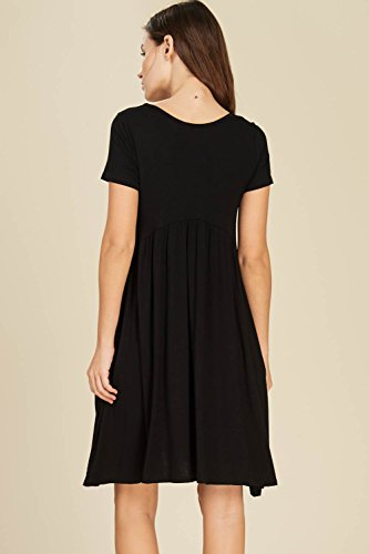 Women's Pockets Scoop Sleeve Black Dresses Mini Short with Waist Comfy Annabelle Neck Empire 6wPId6