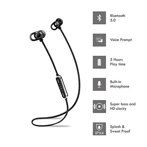 Flybot Boom Deep Bass in-Ear Wireless Bluetooth Earphone with Mic IPX4 Sweatproof - (Black)