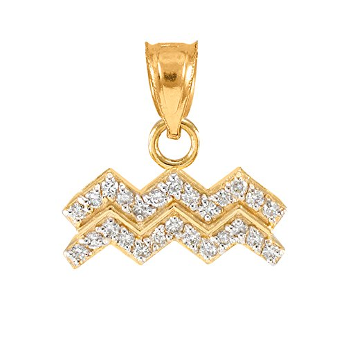 High Polish 14k Yellow Gold Diamond Aquarius Zodiac Charm Pendant