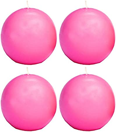 Box of 4 1.5-Inch Biedermann /& Sons Ball Candles Pink