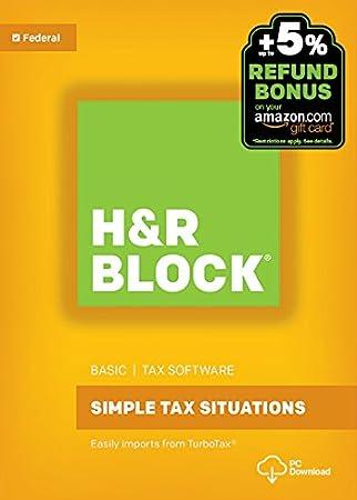 H&R Block Tax Software Basic 2016 Win + Refund Bonus Offer