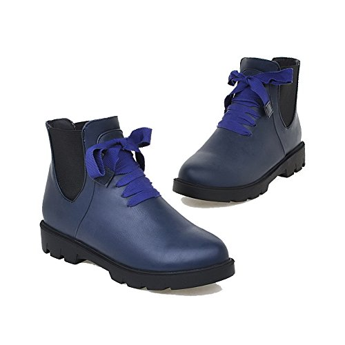 AllhqFashion Mujeres Pu Caña Baja Sólido Cordones Mini Tacón Botas Azul