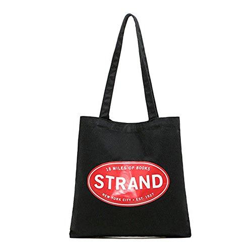 (Do4U Canvas Tote Bag For Women Bonus Zipper Makeup Bag Canvas Beach Shoulder Hand Bag, Perfect for Shopping, Laptop, School Books (Strand(Black)))