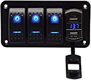 3 Gang Rocker Switch Panel with 4.8 Amp Dual USB Charger Voltmeter Waterproof 12V 24V DC Rocker Switch with Ni