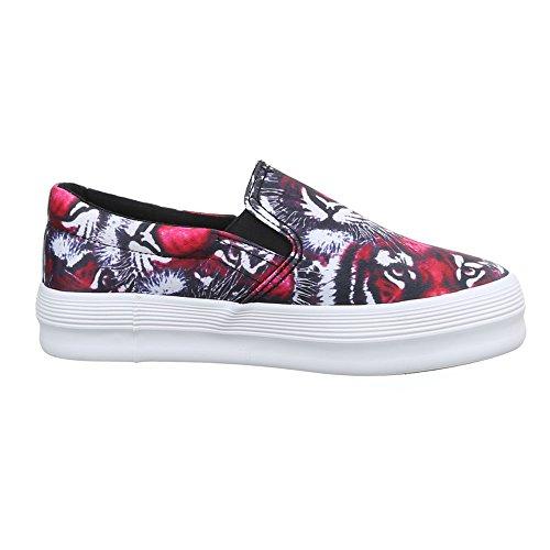 Ital-Design Damen Schuhe, 51131-Y, Halbschuhe Slipper Schwarz Pink