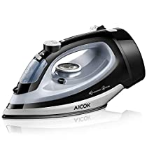 Aicok Steam Iron 1700W Professional Garment Steamer with Retractable Cord Variable Temperature and Steam Control Non-Stick Soleplate Full Function Press Iron