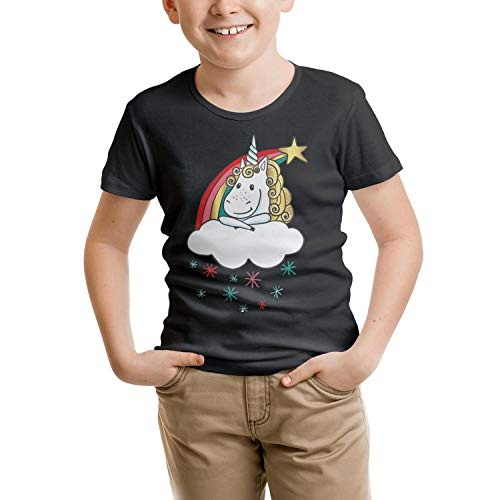 COOL FAMILY Cute Magic Unicorn with Rainbow Children Black Short Sleeve Organic T-Shirts