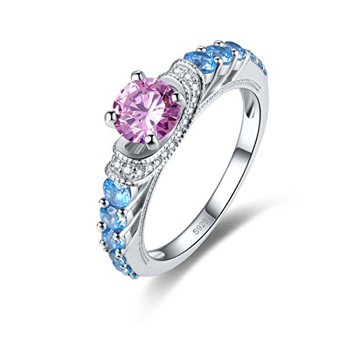 (Merthus 925 Sterling Silver Dainty Cathedral Joint Knuckle Created Pink Topaz Stacking Midi Ring for Women Teen Girls Comfort Fit)