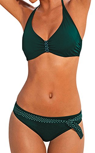 Upopby Women's Sexy Padded Push Up Bikini Set Halter Bathing Suits Two Pieces Swimsuit Swimwear Green -
