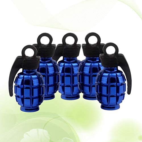 Lioobo 5pcs Ventilkappen Metall Ventildeckel Granate Form Auto Reifen Vorbau Luftventilkappen Staubdicht Abdeckung Für Roller Autos Bike Motorrad Blau Sport Freizeit