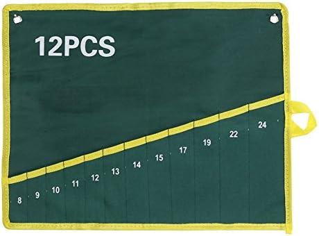キャンバス スパナ レンチ 工具収納バッグ ツール袋 ポケット付き グリーン 耐久性 収納袋 ツールロール ロールアップ 作業道具 収納 省スペース (12)