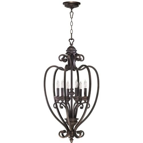 Quorum International 6826-6 6 Light Foyer Pendant from the Summerset Collection, Toasted - Collection Summerset
