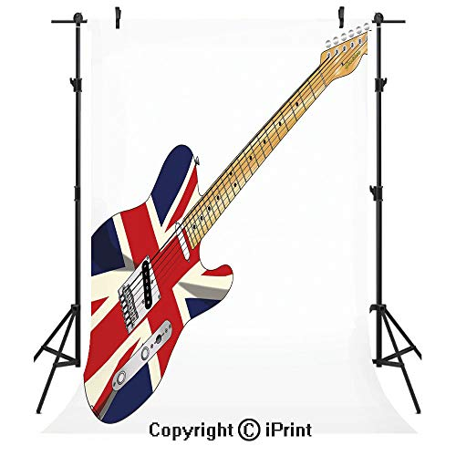 (Union Jack Photography Backdrops,Classical Electric Guitar UK Flag Great Britain Music Instrument Decorative,Birthday Party Seamless Photo Studio Booth Background Banner 3x5ft,Light Brown Silver Black)