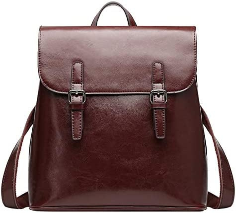 On Clearance Sale Heshe Women s Casual Leather Backpack Daypack for Ladies Coffee