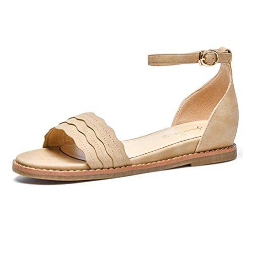2933a60701557 Mot couleur Abricot Talons Dentelle Chaussures Avec Jingsen Fée Sauvage  Sandales Taille Des De Abricot Plats ...