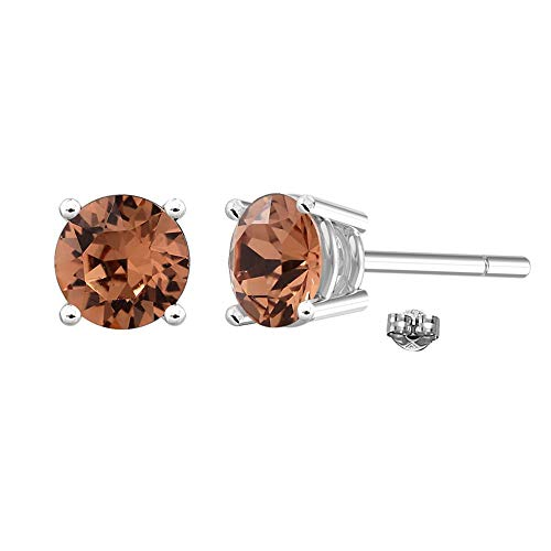 (Swarovski Earrings, GLIMMERING June Birthstone Smoky Quartz Color Swarovski Stud Earrings for Women and Girls, Swarovski Crystal Earring Studs with Certificate and Warranty, Hypoallergenic Earrings)
