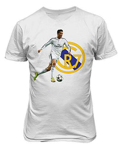 Cristiano Ronaldo Real Madrid CR7 Soccer Men's T Shirt (White,M)