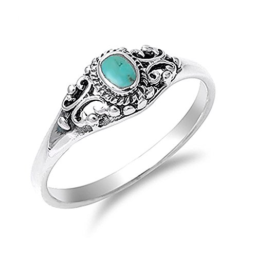 Vintage Sterling Silver Turquoise Ring - 9