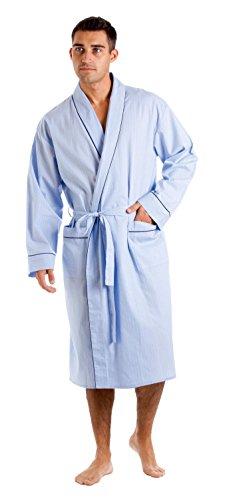 Haigman Men's Cotton Dressing Gown Bath Robe Nightwear (L) Sky Blue