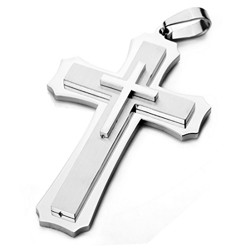 Cross Large Stainless Steel - INBLUE Men's Large Heavy Stainless Steel Pendant Necklace Silver Tone Cross -with 23 inch Chain
