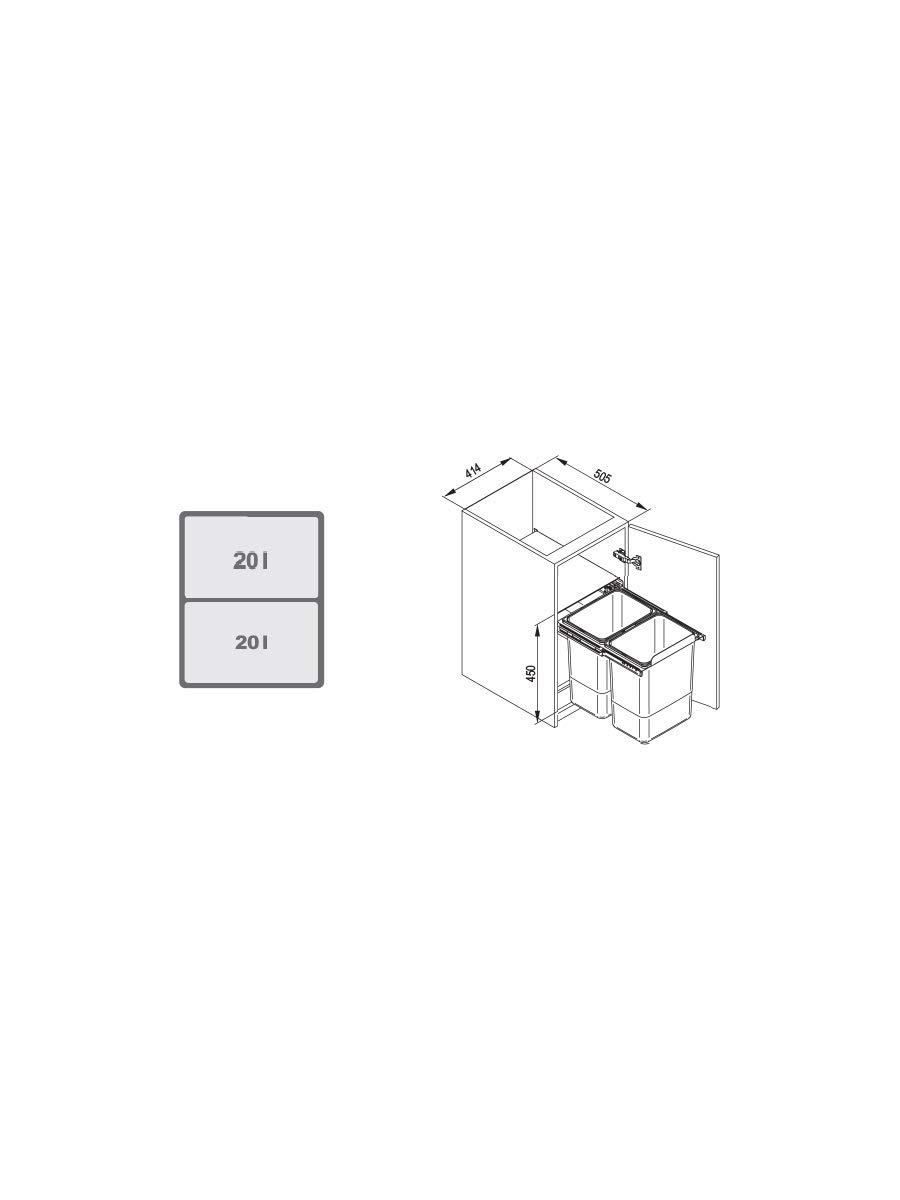 JC606-2 Cubo de reciclaje o basura con sistema extra/íble de 450/mm 40/l