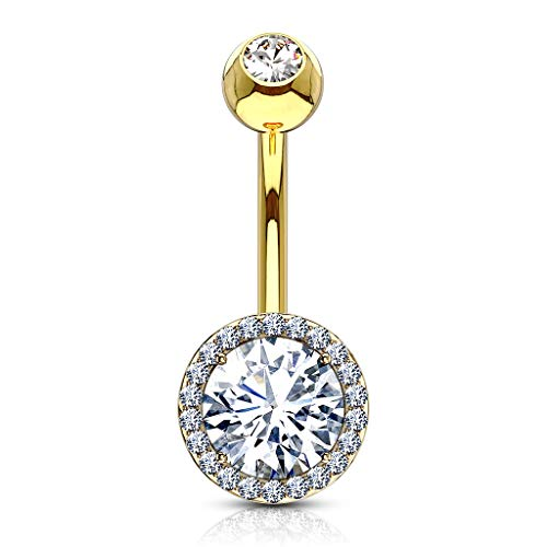 Inspiration Dezigns Curved Belly Button Navel Ring Barbell Double Tier Round Gem CZ 14G (Gold)