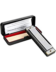 Harmonica C Blues 10 Holes 20 Tones, Major Blues Harmonica Key of C, playing Blues Folk Jazz Pop for Beginner Adult Students Kids Gift with Case, Cleaning Cloth, Detailed Guide
