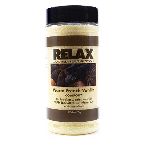 Relax Warm French Vanilla Best Aromatherapy Bath Salts, 17 Ounce Bottle, Crystals Infused with Vitamins and Minerals for Enhanced Relaxation and Recovery, Safe for Spa, Bath, and Whirlpool