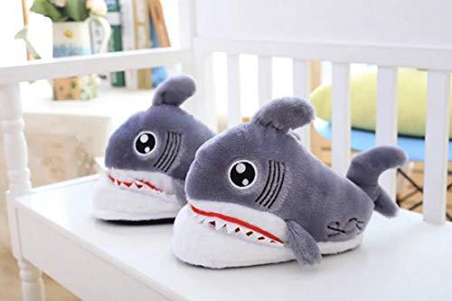 requin de la molle de Pantoufles peluche gris antidérapant pantoufles 3d mignonnes animales F4qwE