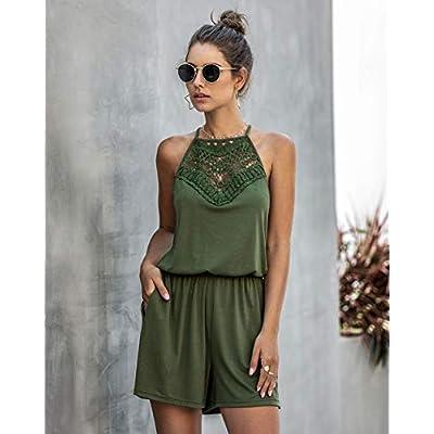 KIRUNDO Summer Women's Lace Patchwork Romper Halter Neck Short Solid Sleeveless High Waist Jumpsuit with Pockets: Clothing