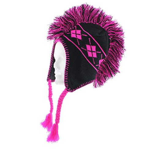 Milani Mohawk Styled Earflap Knit Beanie with Jacquard Print, Hot Pink, One Size